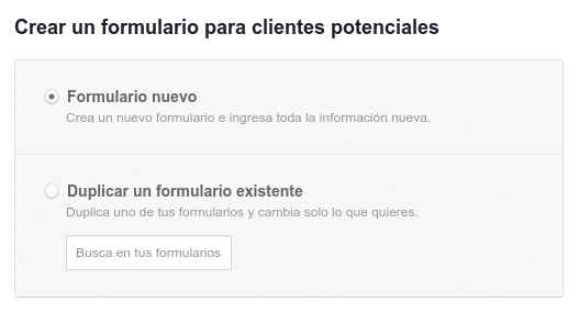 Crear formulario Facebook lead Ad