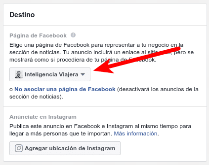 Destino Facebook Ads Manager
