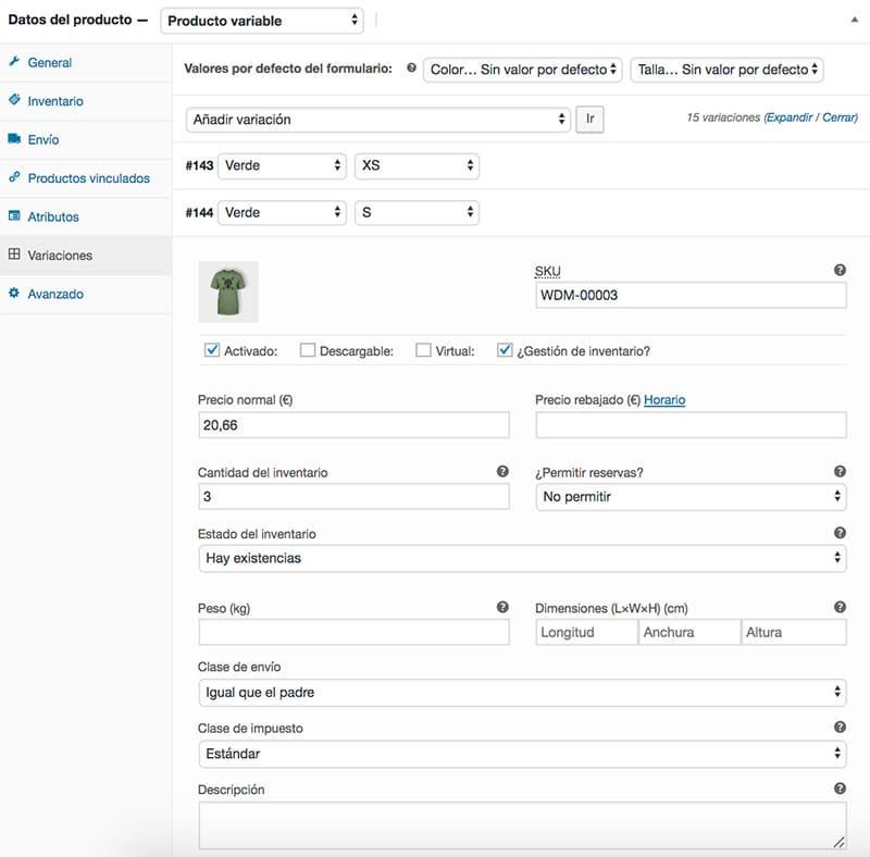 Configurar variación de producto en WooCommerce