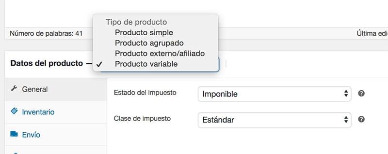 Crear producto variable en tienda online WordPress