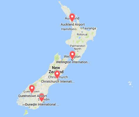 Mapa aeropuertos Nueva Zelanda