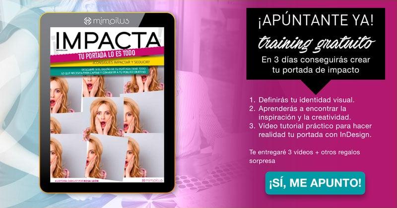 Impacta: training gratuito de Mimoilus para crear una portada impactante para tu infoproducto