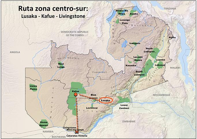 Ruta centro-sur por Zambia