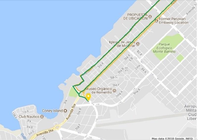 Trayecto al casco histórico si tu Hospedaje en Cuba está en Miramar